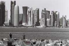 摄影师在多哈卡塔尔 库存照片
