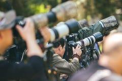 摄影师在景山公园,北京,中国 图库摄影