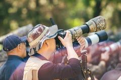 摄影师在景山公园,北京,中国 库存图片