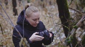 摄影师女孩在秋天木头走并且为自然照相 第一雪 电影射击 慢 影视素材