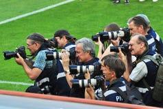 摄影师射击球员 免版税库存图片