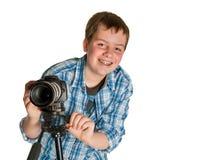 摄影师少年 免版税库存照片