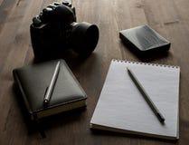 摄影师的工作区  免版税库存照片