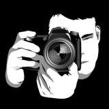 摄影师,黑白 免版税库存照片