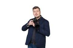 摄影师画象有数字式照片照相机的 免版税库存图片
