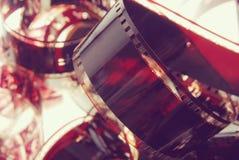摄影影片小条特写镜头葡萄酒背景 免版税库存照片