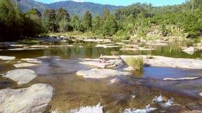 摄影有急流的图片浅河在密林中 影视素材