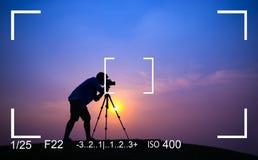 摄影焦点照相机视图概念 库存图片