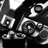 摄影的葡萄酒老影片35mm照相机 库存照片
