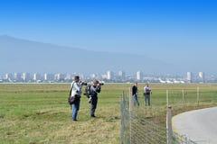 摄影记者索菲亚机场 免版税库存照片