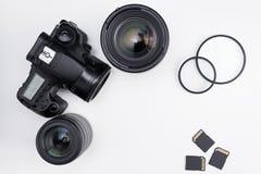 摄影设备和拷贝空间在白色 免版税库存图片
