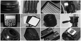 摄影设备拼贴画 库存图片