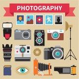 摄影-被设置的象传染媒介-在平的样式的创造性的设计图片 库存图片