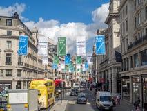 摄政的街道看法在伦敦 库存图片
