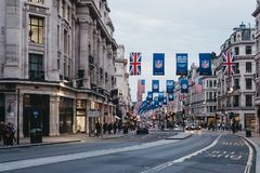 摄政的街道,伦敦看法,黄昏的 免版税库存图片