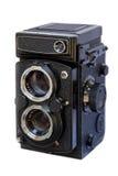 摄象机镜头反射双胞胎白色 库存图片