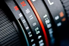 摄象机镜头宏指令射击 库存图片