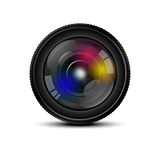摄象机镜头前面在白色背景的 免版税库存图片