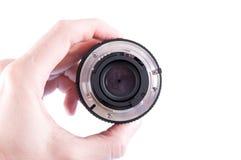 摄象机镜头后面 库存照片