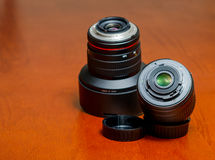 摄象机镜头塑料和金属登上 免版税库存照片