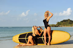 摆在一个海滩的性感的海浪女孩夏令时,微笑和havi 图库摄影