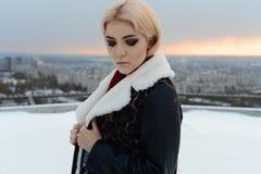 摆在一个冻湖附近的一件棕色紧身连衫外套的女孩 免版税库存图片
