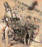 摆在一门大短程高射炮(Mort前面的战士 免版税库存图片