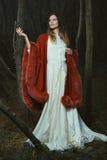 摆在与典雅的红色斗篷的妇女 图库摄影