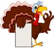 摆在与空白的标志的滑稽的火鸡动画片 库存图片