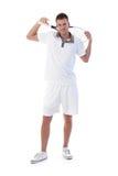 摆在与网球拍的新网球员 免版税库存图片