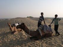 摆在与骆驼的骆驼男孩在沙漠 免版税库存图片