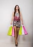 摆在与购物袋的愉快的少妇 免版税库存图片