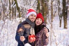 摆在与bengals的愉快的夫妇在冬天公园 库存图片