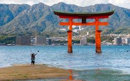 摆在为在O-torii门前面的照片的游人在Miyaj 免版税库存照片