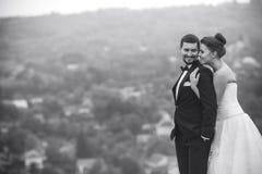 摆在为照相机的婚礼夫妇 免版税库存图片