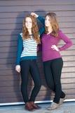 二个青少年的女朋友穿戴了在春天或秋天户外 库存照片