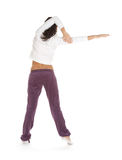 摆在体育运动妇女的礼服 免版税库存照片