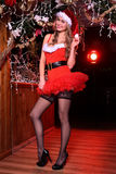 摆在作为性感的圣诞老人帮手的可爱的白肤金发的女孩 库存图片