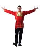 摆在俄国东方舞蹈服装的愉快的人 库存照片