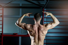 摆在健身房的人显示  免版税库存图片