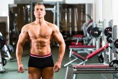 摆在健身房的爱好健美者 免版税库存照片