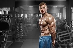 摆在健身房,形状胃肠的性感的肌肉人,显示三头肌 强的男性赤裸躯干吸收,解决 库存照片
