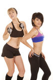 摆在健身服装的二名妇女 库存图片