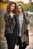 摆在公园的两个美丽的少妇 免版税库存图片