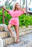 摆在公园的桃红色礼服的白肤金发的妇女 免版税库存图片