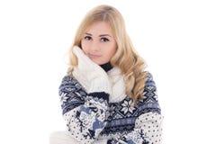 摆在冬天衣裳的年轻可爱的妇女隔绝在丝毫 免版税库存照片