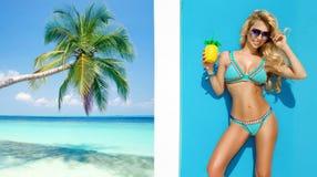 摆在加勒比海滩的比基尼泳装的美丽,性感的妇女 免版税库存图片
