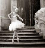 摆在台阶的年轻芭蕾舞女演员妇女 免版税图库摄影