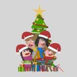 摆在圣诞树前面的家庭画象 3d 免版税库存图片