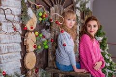 摆在圣诞节装饰的两个美丽的女孩 免版税库存照片